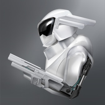 Concept d'agent de police ou de soldat de robot armé fictif