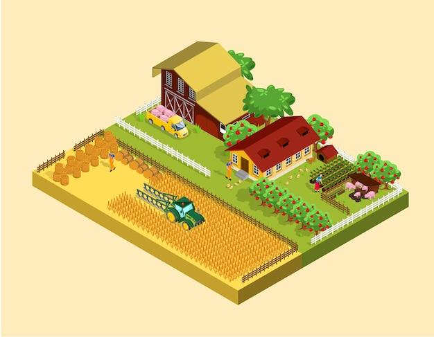 Concept agricole isométrique