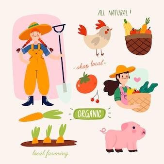 Concept d'agriculture biologique avec des animaux