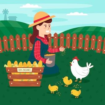 Concept d'agriculture biologique avec boîte de maïs