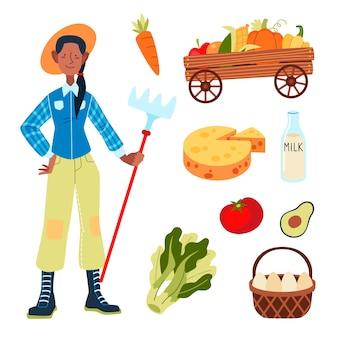 Concept d'agriculture biologique avec femme