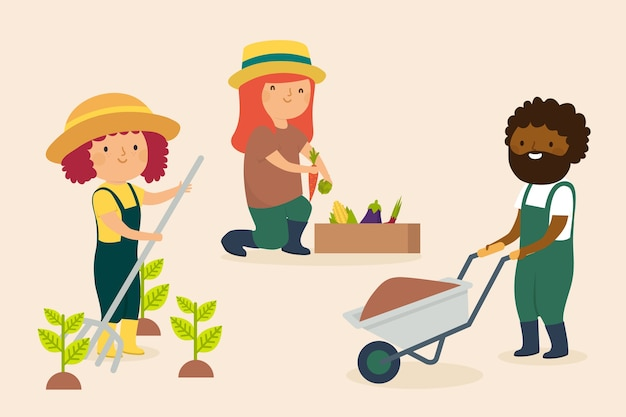 Concept d'agriculture biologique avec des gens