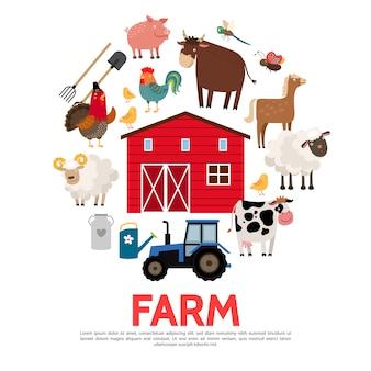 Concept d'agriculture et d'élevage plat
