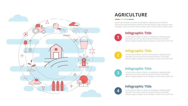 Concept d'agriculture pour la bannière de modèle d'infographie avec vecteur d'information de liste à quatre points