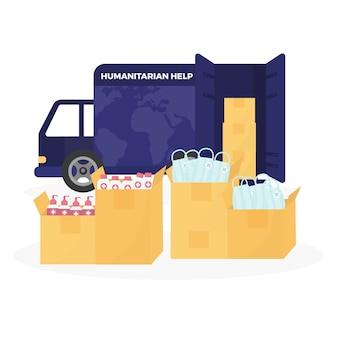 Concept d'aide humanitaire pendant la pandémie