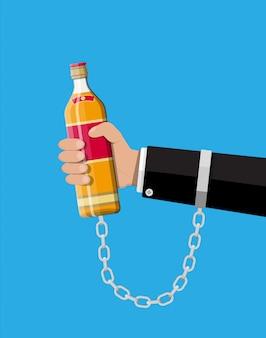 Concept d'alcoolique accro.