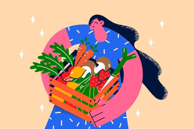 Concept d'alimentation saine et de régime frais. jeune femme souriante debout tenant un panier de produits frais légumes verts carotte fraise pomme de terre pour une alimentation saine illustration vectorielle