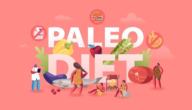 Concept d'alimentation saine de régime paléo. illustration plate de dessin animé