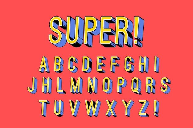 Concept d'alphabet comique 3d