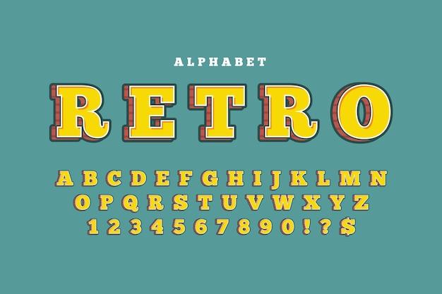 Concept d'alphabet rétro 3d