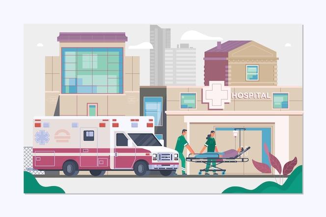 Concept d'ambulance de médecine dans un style plat
