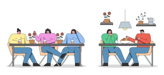 Concept d'ami ennuyeux. admirateur ennuyeux et intrusif essayant sans succès d'avoir une conversation.