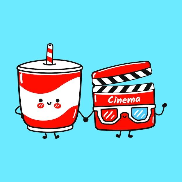 Concept d'amis mignon heureux boisson froide et clap