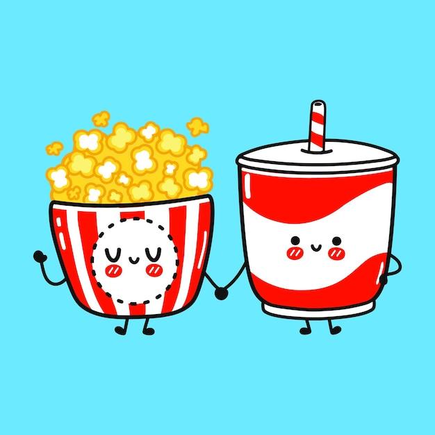 Concept d'amis de pop-corn heureux mignon et de boissons froides