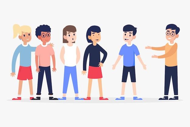 Concept d'amitié avec différentes personnes