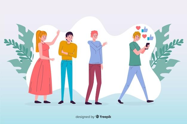Concept d'amitié sur les médias sociaux