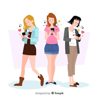 Concept d'amitié avec les smartphones