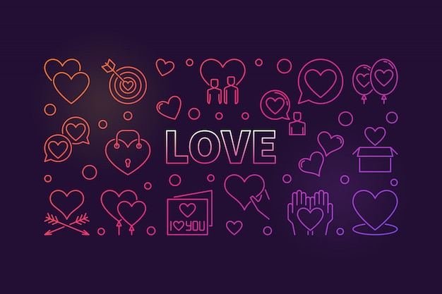 Concept d'amour contour coloré icône illustration