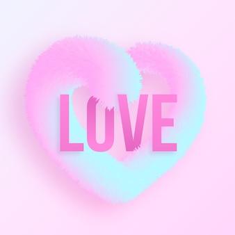 Concept d'amour dégradé réaliste avec coeur moelleux 3d