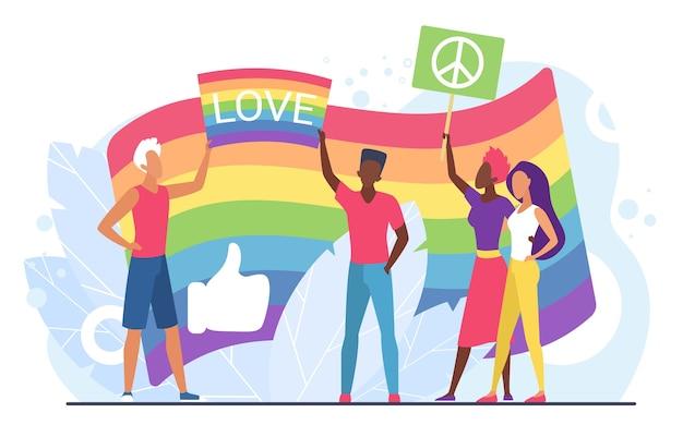 Concept d'amour lgbt avec des personnes tenant des drapeaux arc-en-ciel