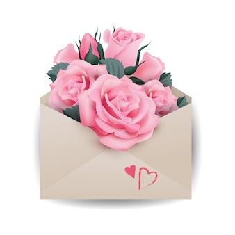 Concept de l'amour ou de la saint-valentin. belles roses roses dans l'enveloppe le vecteur de modèle.