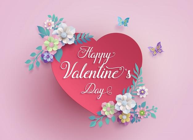 Concept de l'amour et de la saint-valentin avec coeur et livre papier découpé illustration