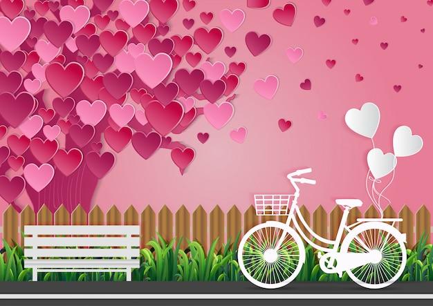 Concept d'amour de la saint-valentin: il y a des vélos dans la rue et des ballons attachés. ciel rose belle nature. illustrations vectorielles