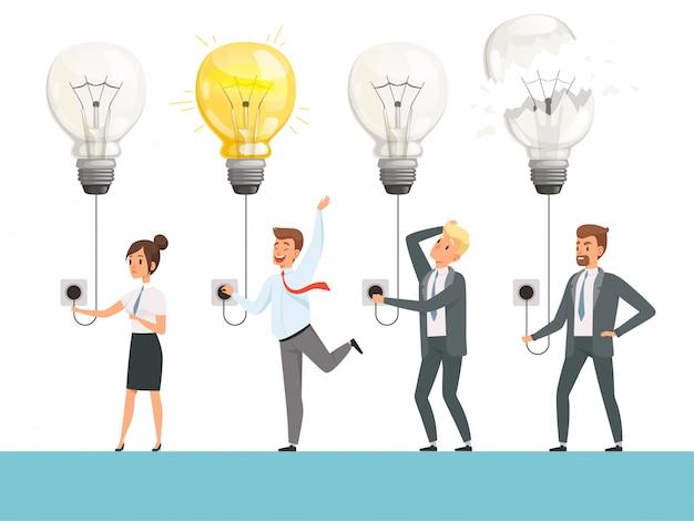 Concept d'ampoule idée. démarrage d'entreprise photo équipe professionnelle intelligente lumière lampe illustration vectorielle