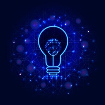 Concept d'ampoule de lignes, de points et de triangles sur fond bleu abstrait. ampoule