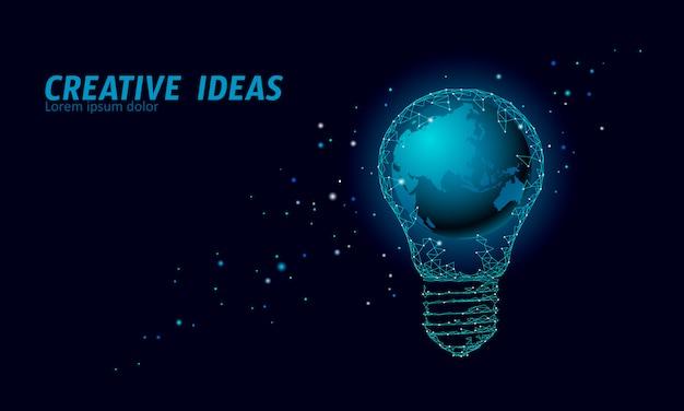 Concept d'ampoule world earth hour. étoile de l'espace polygonal nuit ciel bleu foncé lampe low poly planète globe carte eco sauver écologie environnement électricité énergie verte puissance illustration