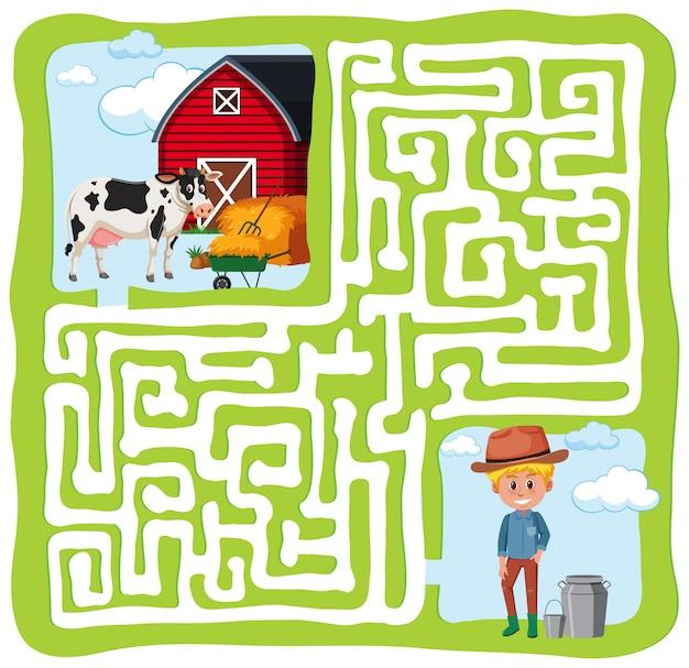 Concept amusant de labyrinthe de ferme