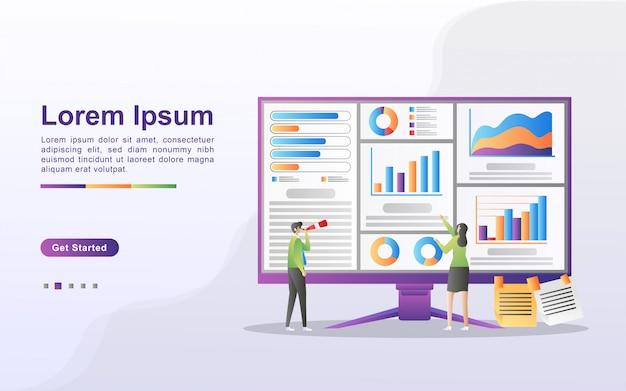 Concept d'analyse de données. les gens analysent les mouvements des graphiques et le développement des affaires. gestion des données, audit et reporting. peut utiliser pour la page de destination web, la bannière, le dépliant, l'application mobile.