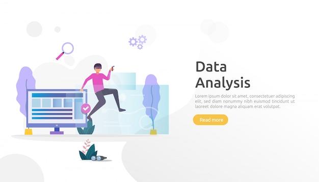 Concept d'analyse de données numériques pour les études de marché et la stratégie de marketing numérique. analyse de site web ou science des données avec un caractère humain. modèle de page de destination web, bannière, présentation