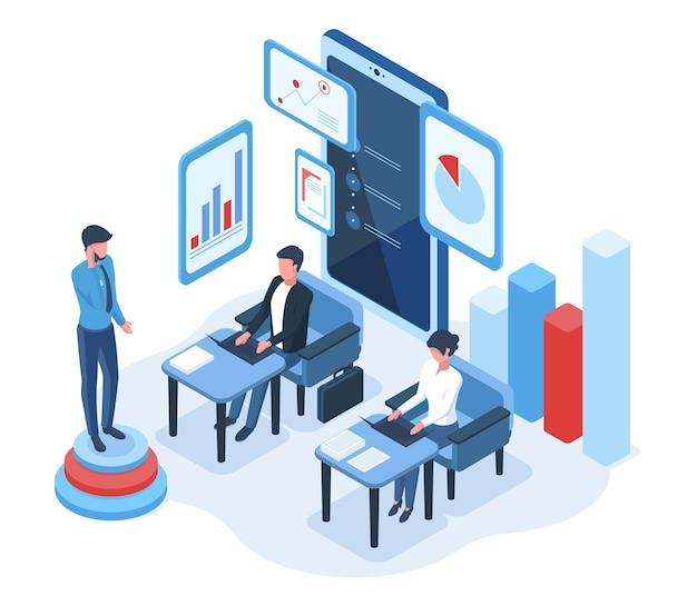 Concept d'analyse de données de personnes et de graphiques isométriques. analyse statistique financière, calcul ou illustration vectorielle d'audit budgétaire. évaluation de l'analyse des données.analyse des affaires financières et infographie