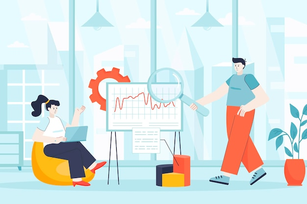 Concept d'analyse de données volumineuses dans l'illustration de conception plate de personnages de personnes pour la page de destination