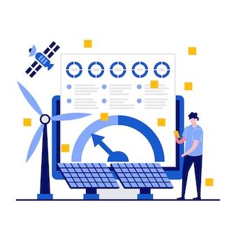 Concept d'analyse énergétique avec caractère. les gens analysent les données de puissance.