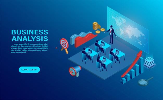 Concept d'analyse d'entreprise avec personnage.