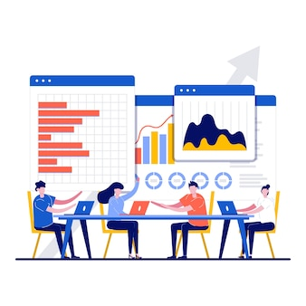 Concept d'analyse des informations d'entreprise avec caractère.
