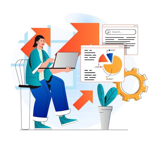 Concept d'analyse de référencement dans un design plat moderne la femme analyse les résultats de la recherche et travaille avec des données
