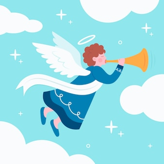 Concept d'ange de noël au design plat