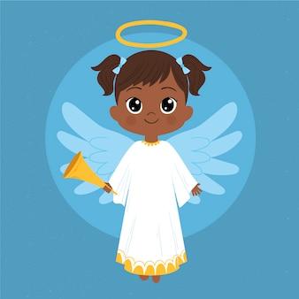 Concept d'ange de noël dessiné à la main
