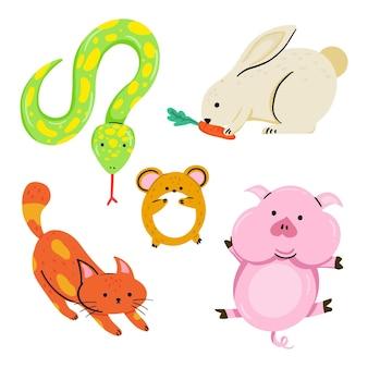 Concept d'animaux différents