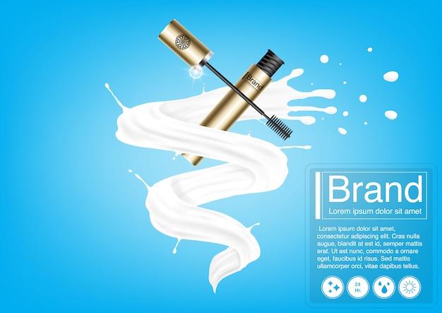 Concept d'annonce cosmétique et maquette de mascara de luxe.