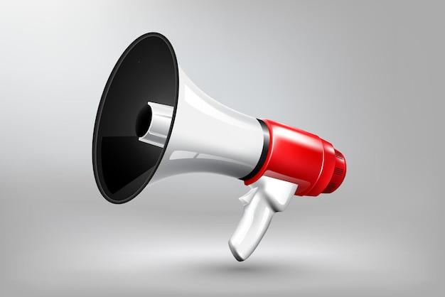 Concept d'annonce publicitaire isolé mégaphone rouge et blanc