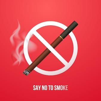 Concept anti bannière de fumer.