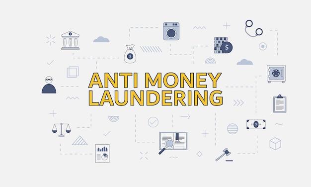 Concept anti-blanchiment d'argent aml avec jeu d'icônes avec grand mot ou texte sur l'illustration vectorielle centrale