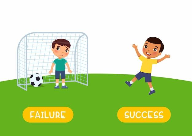 Concept d'antonymes succès et échec opposés apprentissage de l'anglais garçons jouant au football