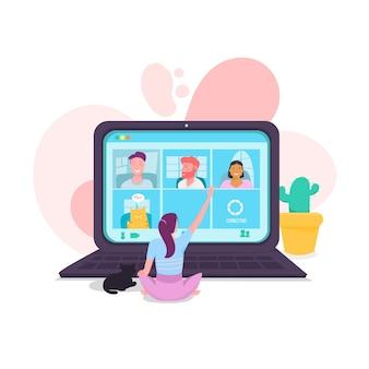 Concept d'appel vidéo avec une fille et un ordinateur portable