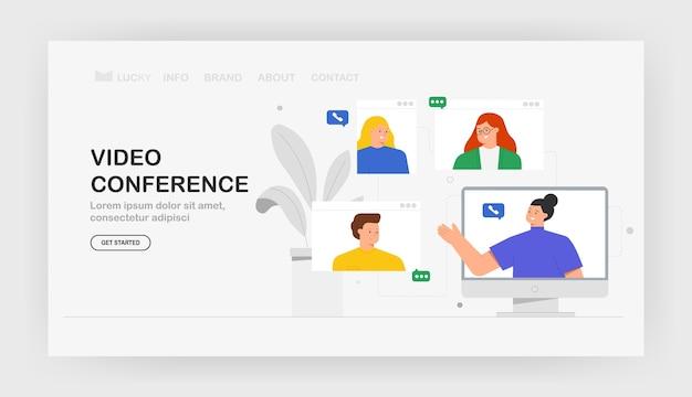 Concept d'appel vidéo d'illustration à la mode de communication moderne, bannière, web.