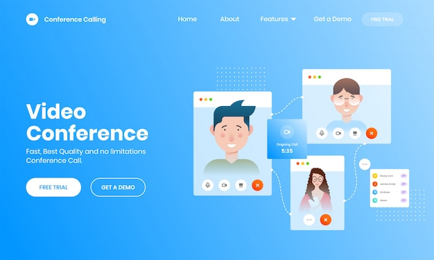 Concept d'appel vidéo en ligne avec écran de smartphone